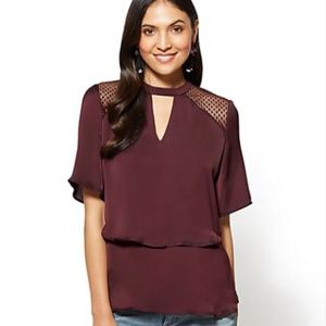 NY&CO Tiered Keyhole Blouse With Lace Shoulders